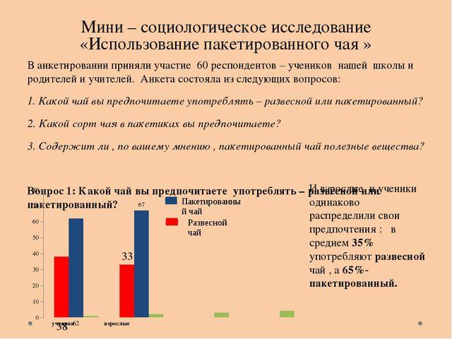 Мини – социологическое исследование «Использование пакетированного чая » В ан...