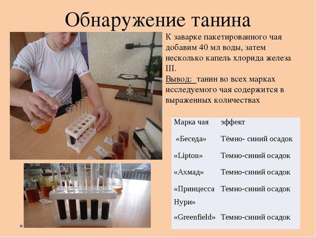 Обнаружение танина  К заварке пакетированного чая добавим 40 мл воды, затем...