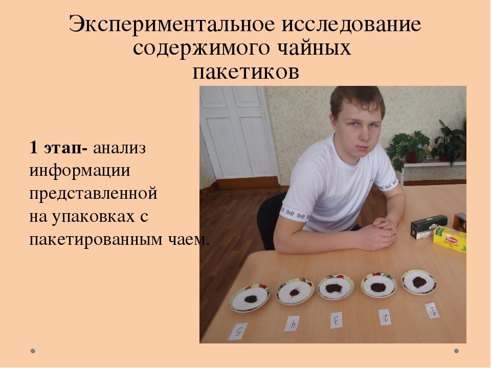 Экспериментальное исследование содержимого чайных пакетиков 1 этап- анализ ин...