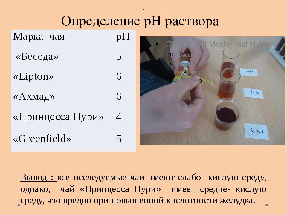 Определение рН раствора . Вывод : все исследуемые чаи имеют слабо- кислую ср...