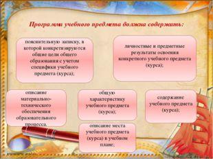 Программа учебного предмета должна содержать: пояснительную записку, в котор