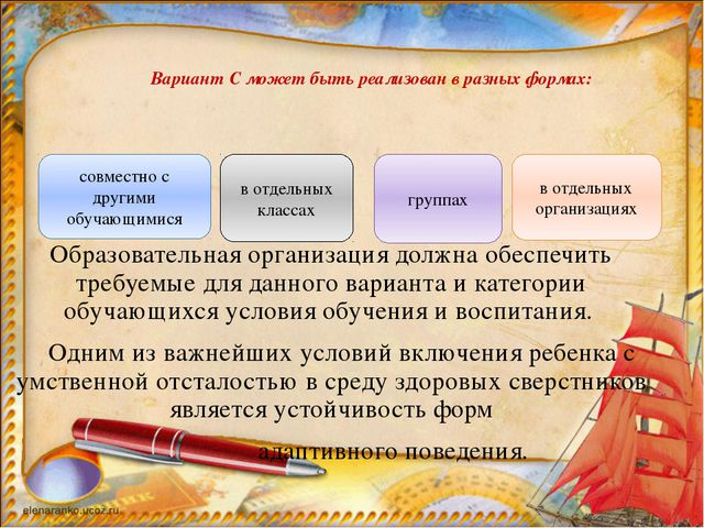 Вариант С может быть реализован в разных формах: Образовательная организация...