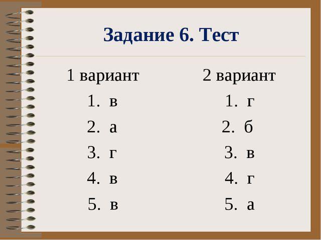 Задание 6. Тест 1 вариант 1. в 2. а 3. г 4. в 5. в 2 вариант 1. г 2. б 3....