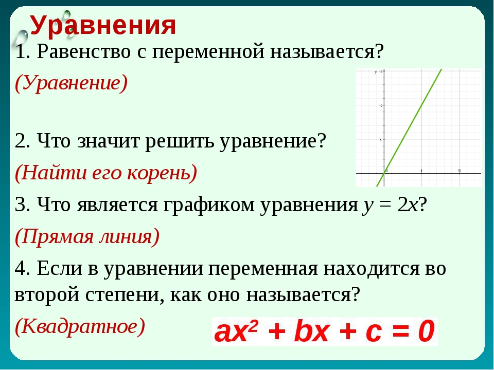 Уравнения 1. Равенство с переменной называется? (Уравнение) 2. Что значит реш...