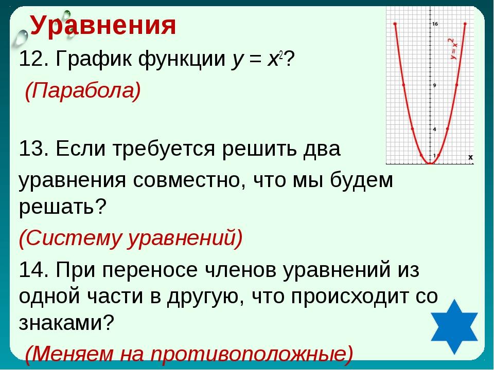 Уравнения 12. График функции у = х2? (Парабола) 13. Если требуется решить два...