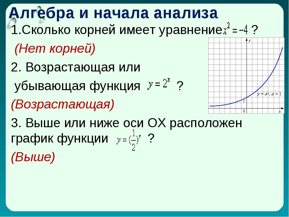 Алгебра и начала анализа 1.Сколько корней имеет уравнение ? (Нет корней) 2. В...
