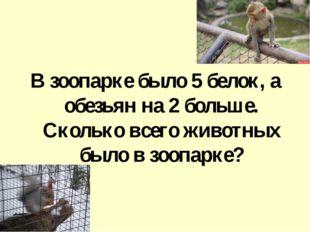В зоопарке было 5 белок, а обезьян на 2 больше. Сколько всего животных было