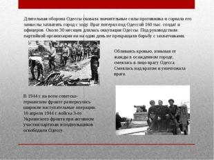 Длительная оборона Одессы сковала значительные силы противника и сорвала его