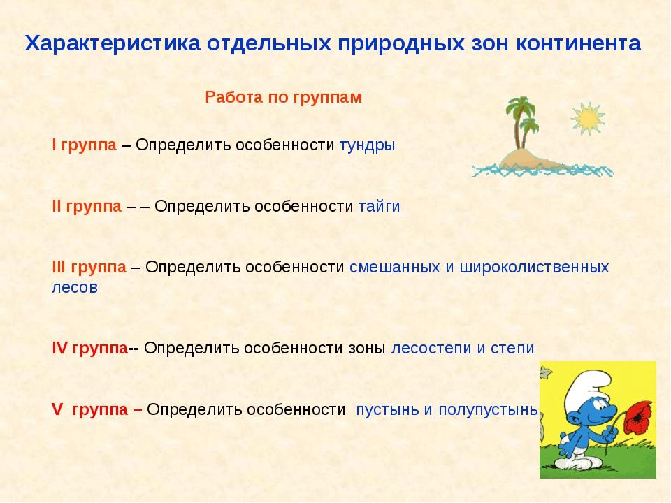 Характеристика отдельных природных зон континента Работа по группам I группа...