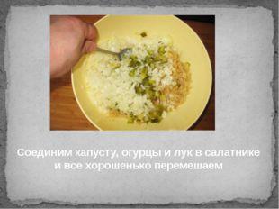 Соединим капусту, огурцы и лук в салатнике и все хорошенько перемешаем