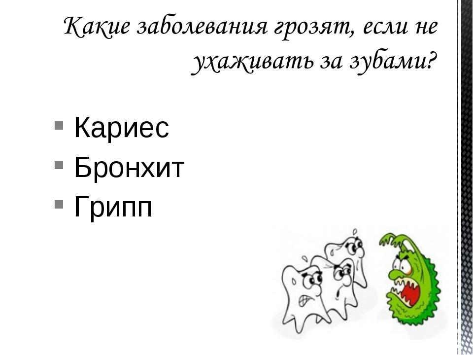 Кариес Бронхит Грипп