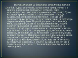 Воспоминания из дневника советских воинов Шел бой. Вдруг со стороны духов ог