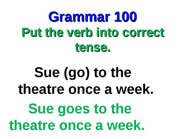 Grammar 100 Put the verb into correct tense. Sue (go) to the theatre once a w...