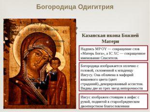 Богородица Одигитрия Надпись MP OY — сокращение слов «Матерь Бога», а IC ХC —