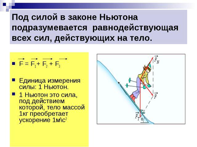 Под силой в законе Ньютона подразумевается равнодействующая всех сил, действу...