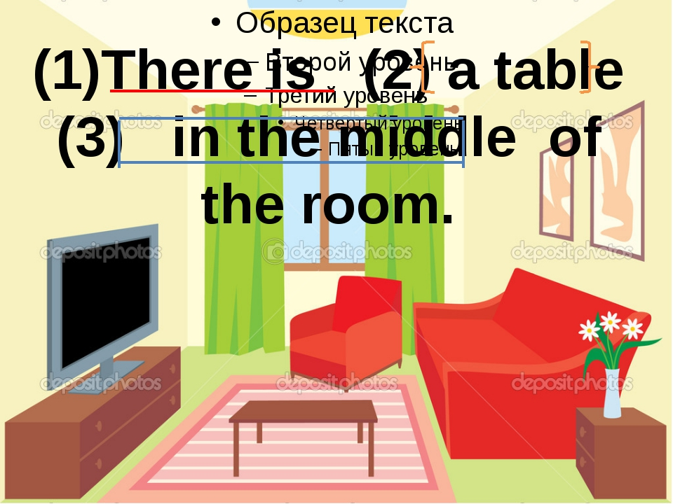 (1)There is (2) a table (3) in the middle of the room.