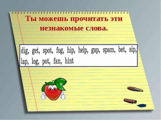 Ты можешь прочитать эти незнакомые слова.