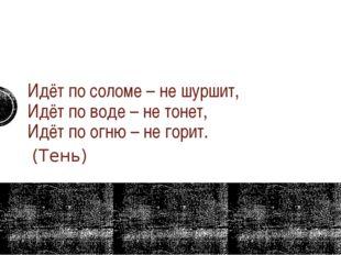 Идёт по соломе – не шуршит, Идёт по воде – не тонет, Идёт по огню – не гори