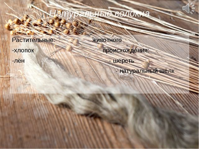 Натуральные волокна Растительные: животного -хлопок происхождения: -лён - шер...