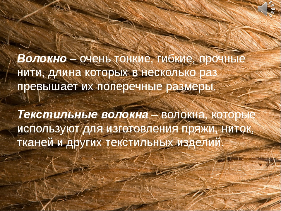 Волокно – очень тонкие, гибкие, прочные нити, длина которых в несколько раз п...