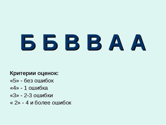 Б Б В В А А Критерии оценок: «5» - без ошибок «4» - 1 ошибка «3» - 2-3 ошибки...