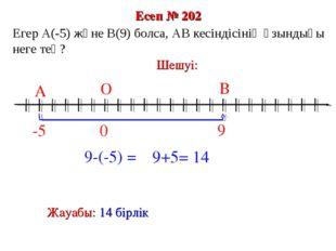 Есеп № 202 9-(-5) = 0 В О -5 А Шешуі: 9 Жауабы: 14 бірлік Егер А(-5) және В(9
