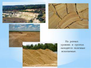 На разных уровнях и грунтах находятся полезные ископаемые.