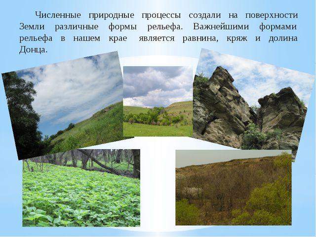 Численные природные процессы создали на поверхности Земли различные формы ре...
