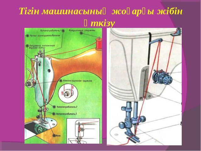 Тігін машинасының жоғарғы жібін өткізу