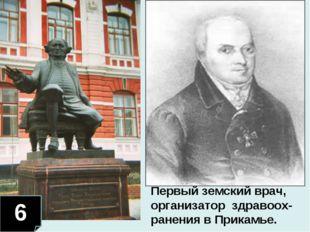 6 Первый земский врач, организатор здравоох-ранения в Прикамье.