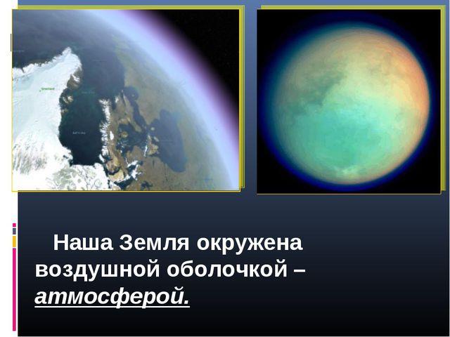 Наша Земля окружена воздушной оболочкой – атмосферой.