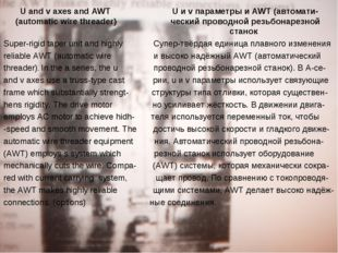 U and v axes and AWT U и v параметры и AWT (автомати- (automatic wire threade