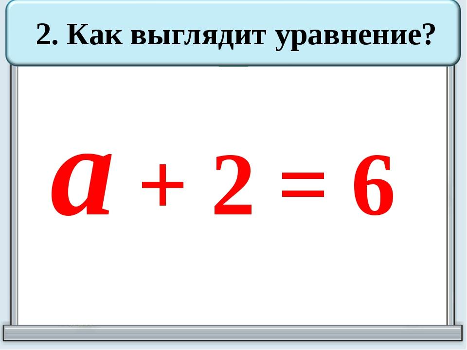 a + 2 = 6 2. Как выглядит уравнение?