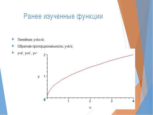 Ранее изученные функции Линейная: y=kx+b; Обратная пропорциональность: y=k/x;...