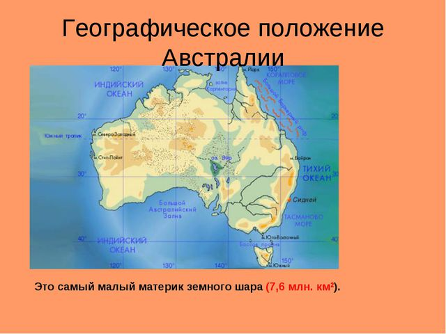 Географическое положение Австралии Это самый малый материк земного шара (7,6...