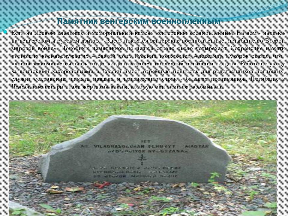 Памятник венгерским военнопленным Есть на Лесном кладбище и мемориальный кам...