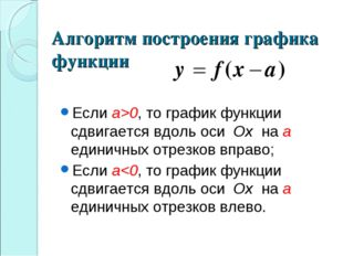 Если а>0, то график функции сдвигается вдоль оси Ox на a единичных отрезков в