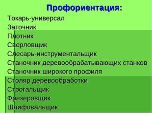 Профориентация: Токарь-универсал Заточник Плотник Сверловщик Слесарь-инструм