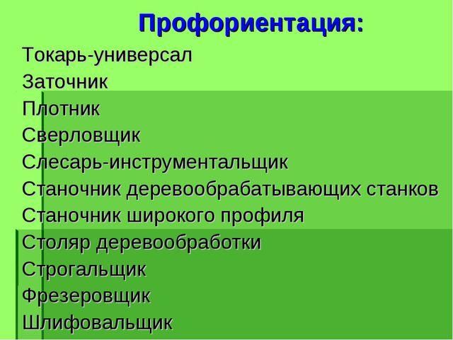 Профориентация: Токарь-универсал Заточник Плотник Сверловщик Слесарь-инструм...