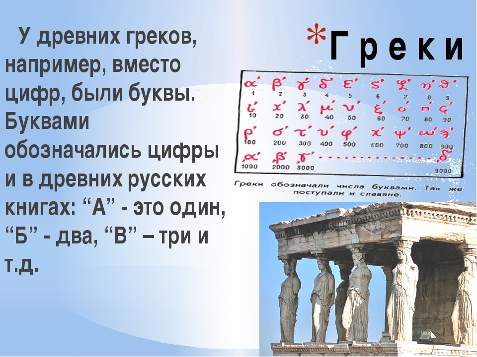 Г р е к и У древних греков, например, вместо цифр, были буквы. Буквами обозна...