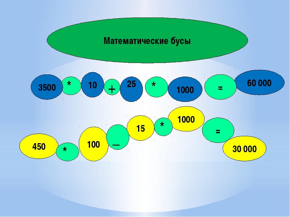 Математические бусы * 10 3500 1000 25 60 000 450 100 15 30 000 1000 = = + * _...