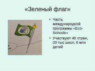 «Зеленый флаг» Часть международной программы «Eco-Schools» Участвуют 40 стран