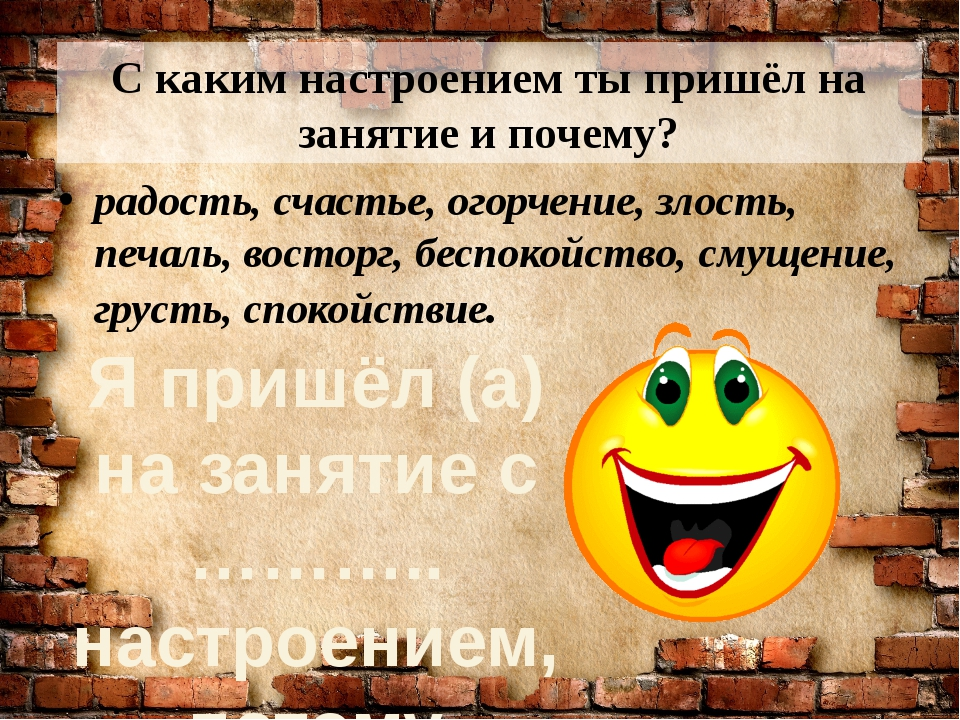 С каким настроением ты пришёл на занятие и почему? радость, счастье, огорчени...