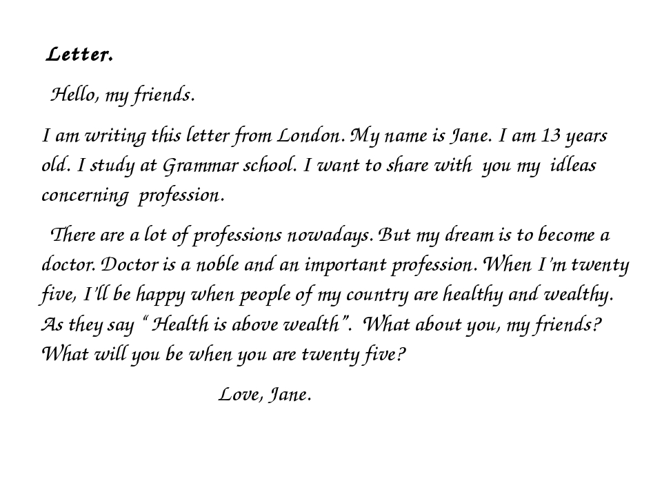 Letter. Hello, my friends. I am writing this letter from London. My name is...