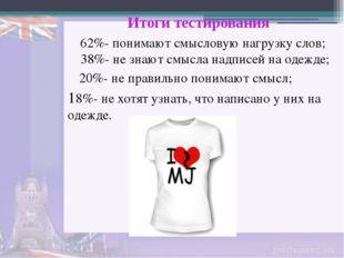 38%- не знают смысла надписей на одежде; 62%- понимают смысловую нагрузку сло