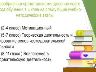 Целесообразным представляется деление всего процесса обучения в школе на след