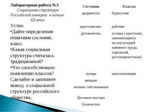 Лабораторная работа №3 Социальная структура Российской империи в начале XX в