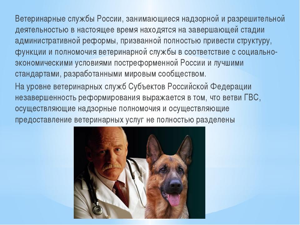 Ветеринарные службы России, занимающиеся надзорной и разрешительной деятельно...