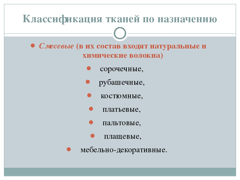 Классификация тканей по назначению Смесевые (в их состав входят натуральные и...