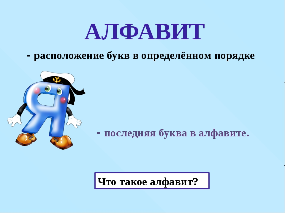 - последняя буква в алфавите. АЛФАВИТ Почему так говорят? Что такое алфавит?...